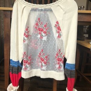 Anthropologie Rose Lace Sweater